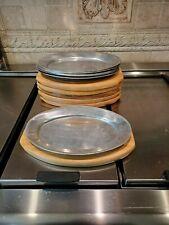 6 Steak Fajita Sizzling Platters Tray Aluminum/Wood Plate 12.25 x 8.50