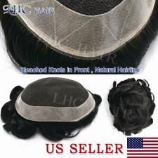 Mens Toupee French Lace Transparent All Color Remy Hair System Natural Hairline