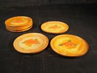 Vintage Occupied Japan set of seven wood carved hand painted coasters