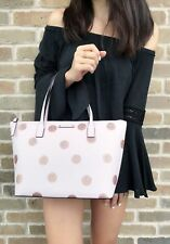 Kate Spade Haven Lane Hani Small Tote Glitter Pink Polka Dot Top Zip Handbag