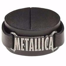 ALCHEMY ROCKS METALLICA LOGO WRISTBAND WRIST STRAP BLACK REAL LEATHER HETFIELD