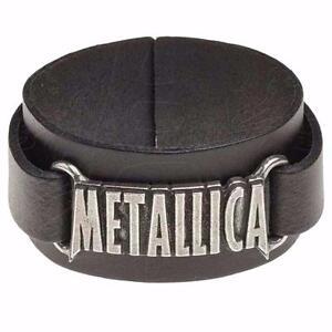 ALCHEMY ROCKS METALLICA LOGO WRISTBAND Wrist Strap Black Real Leather Hetfield