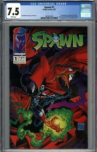 Spawn #1 CGC 7.5 VF- 1st Appearance of Spawn (Al Simmons) WHITE PAGES