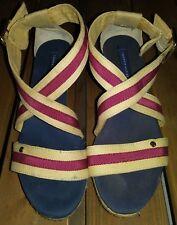 d0a191772d74 Tommy Hilfiger Wrapped Platform Strap Wedge Sandals Women Size 7 Blue Red  Beige