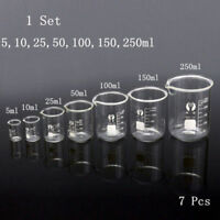 1 Set 7pcs Glass Beaker Chemistry Laboratory Borosilicate Measuring Cylinder