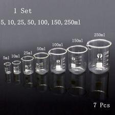Glass Beaker Chemistry Laboratory Borosilicate Measuring Cylinder 1 Set 7pcs