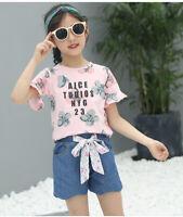 IENENS Kids Girls Clothes Sets T-shirt + Shorts Outfits Suits Child Cotton Tops