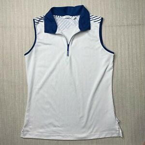Lady Hagen Blue White Collared Tank Top Womens XS 1/4 Zip Sleeveless Stretchy