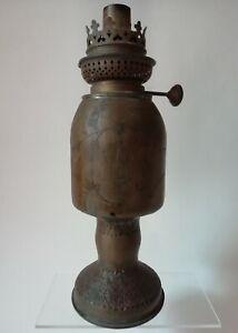 Ancienne lampe à pétrole Gravée Art des tranchées d'un Poilu Français 14-18 WW1