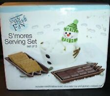 Boston Warehouse Snowman S'mores 3 Piece Holiday Winter Table Decor Serving Set