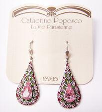 Catherine Popesco Silver Light Pink Teardrop Crystal Earrings