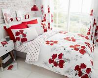 Luxury Poppy Red  Duvet Cover Bedding Set with Pillow Cases, Curtains All Sizes