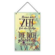 Zeit für Dinge 20 x 30 cm Holz-Schild 8 mm Spruch Glücklich Motiv Geschenk-Idee