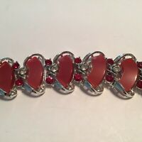 Vintage Star Ruby Red Lucite Red Clear Rhinestone Wide Bracelet