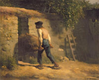 Jean-Francois Millet Peasant With A Wheelbarrow Fine Art Print on Canvas Small
