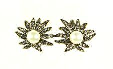 "HEIDI DAUS ""Sublime Star"" Faux White Pearl & Crystals Clip Earrings"