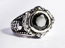 Huge Solid 925 Sterling Silver UK Size O US 7 18g Black Gothic Skull Signet Ring