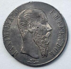 Mexico Silver 1 Peso 1866 Pi - Empire of Maximilian