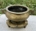Rare Antique Chinese Bronze Incense Burner With Bronze Stand Qing Period