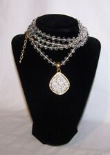"Joan Rivers Faceted Crystal & Gold Bead Necklace w Pave Enhancer 24"" Lg. Signed"