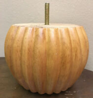 Pumpkin Carved Wood  Leg, Sofa, Chair, Loveseat, Ottoman Table  Feet ( 4 Legs )