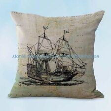 US SELLER, decorative pillow covers beach nautical boat map cushion cover