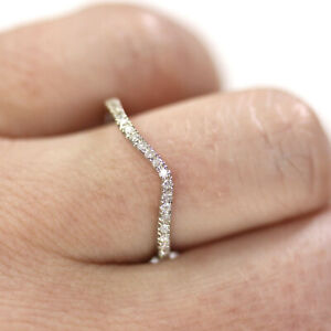 0.15 ctw Natural Diamond Solid 14k White Gold Curved Wedding Band Ring 1.5 MM