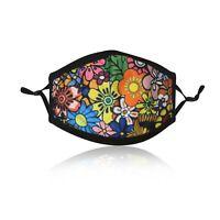 Ladies Multi Flower Cotton Face Mask Washable Reusable Adjustable Double Layer