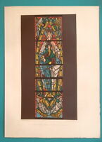 FRANCE Trinity Church at Vendome Stained Glass Window - 1858 COLOR Litho Print