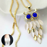 Rhinestone Gift Fashion Owl Pendant Sweater Women Long Necklace Chain Crystal
