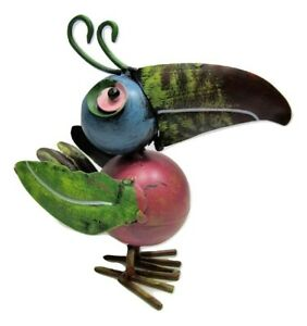 Small Rustic Colorful Tin Metal Tropical Rain Forest Toucan Bird Bouncy Figurine