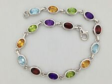 Silver Bracelet with Multi-Color Natural Stones