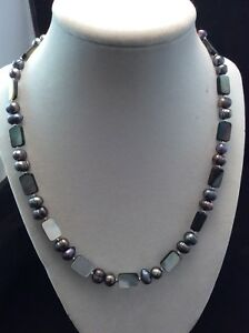Sterling Silver Cultured Freshwater Pearl & Black Shell Necklace Earrings Set