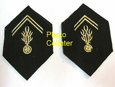 "Ecussons de col ""cornes de cerf "" avant 1967 Gendarmerie Mobile broderie machine"