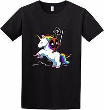Deadpool riding Unicorn - Funny Deadpool Rainbow Comic Movie Inspired T-shirt