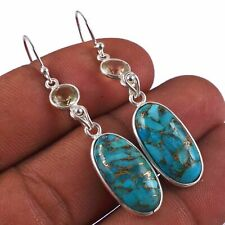 Copper Turquoise,Citrine Solid 925 Sterling Silver Earring Jewelry AE-6439