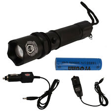 Tactical Police 5W Focus LED Flashlight Torch w/ 18650 Battery w/ Charger Black