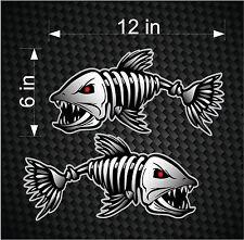 "2 12"" Digital Skeleton Fish Vinyl Decals for Boat Fishing graphics Bone sticker"