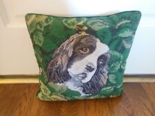 "Cocker Spaniel Dog Needlepoint Pillow 14""x14"""