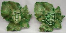 Pair Green Man Woman Boy Girl Leaf Face Wall Plaque Home Garden Decor