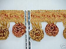 "3"" Unique Tassel Fringe Trim Salmon Antique Gold Per Ya"