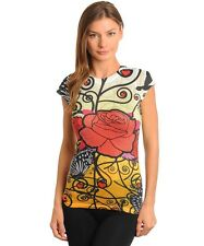 Women Sexy Yellow Multycolor Rose Butterfly Print  Rhinestone Top Blouse Size M