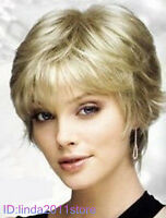 New Fashion short Platinum-Blonde Wig + free wig cap NO:A06