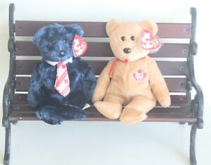 Ty Beanie Bears, Pops & True, on Wooden & Cast Bench, Tags in Place, Bench NEW
