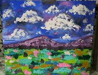original acrylic and oil landscape painting abstract. Impressionist style 16x20