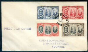 Sarawak 1946 Centenary set 4  on first day cover fine (2021/10/26#07)