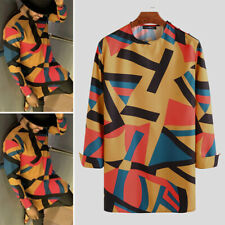 Men's African Dashiki Clothing Long Sleeve Floral Printed Ethnic Tops Tee Blouse