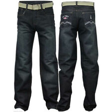 Boys Kids Jeans Denim Straight Leg Stretch Trousers Five Pockets With Belt Pants