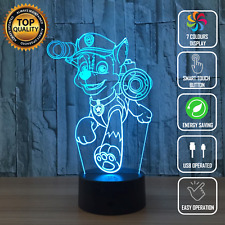 PAW PATROL CHASE DOG 3D Acrylic LED 7 Colour Night Light Touch Table Desk Lamp
