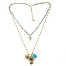 BOHO Gold Hamsa Fatima Hand God Blue Eye Amulet Pendant Collar Choker Necklace